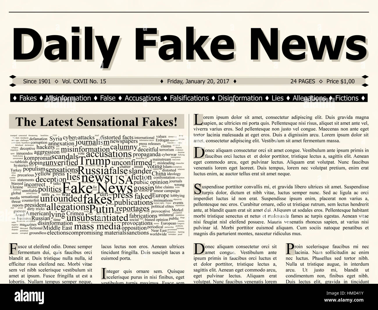 Front page of daily fake news mainstream newspaper title