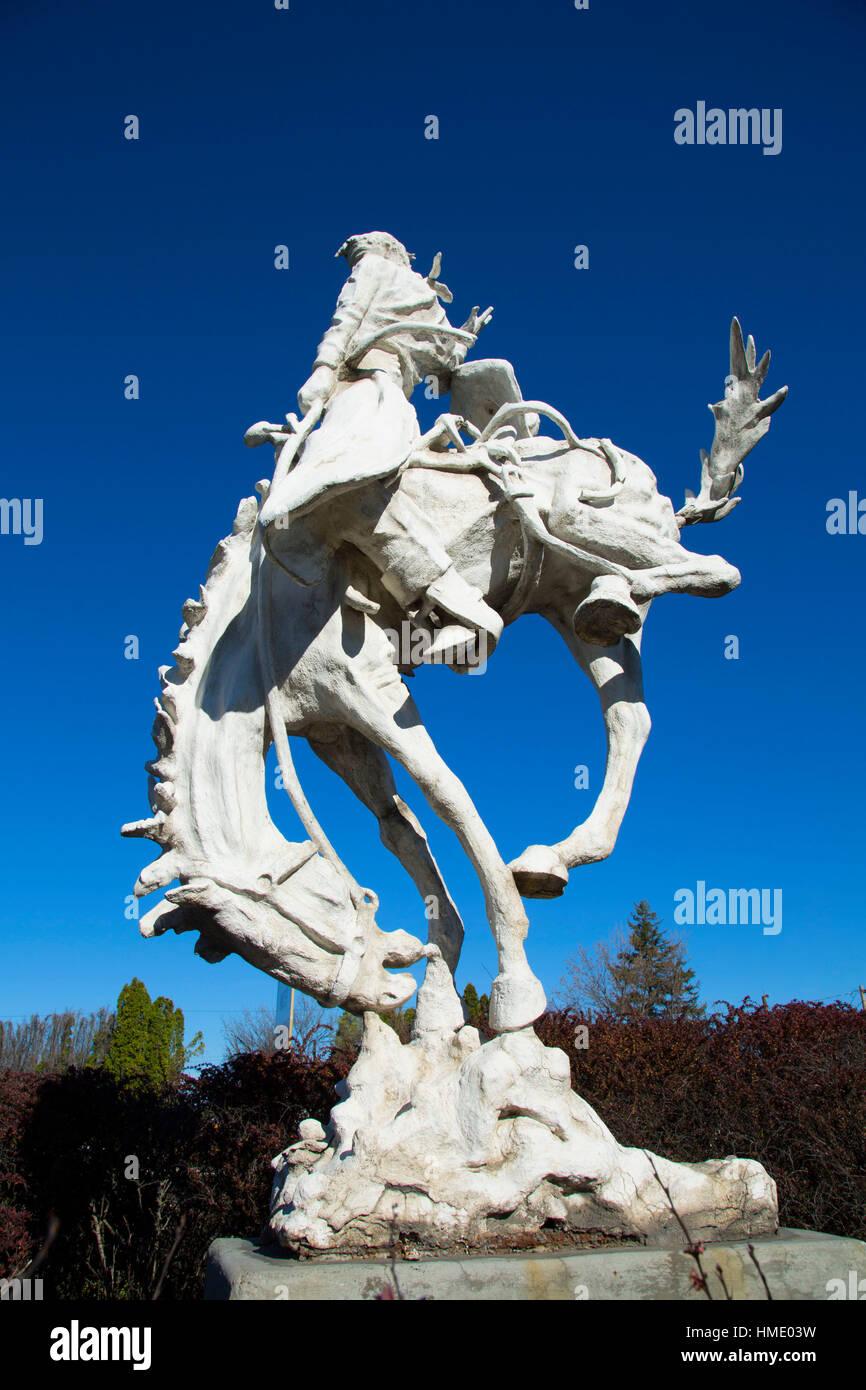roundup sculpture  pendleton  oregon stock photo  royalty