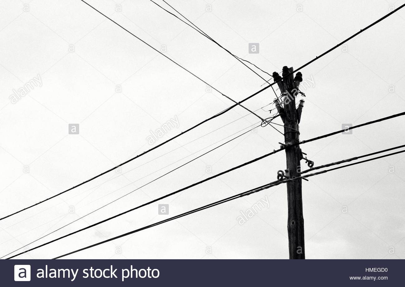 Wood electric post and its wires Stock Photo, Royalty Free Image ...