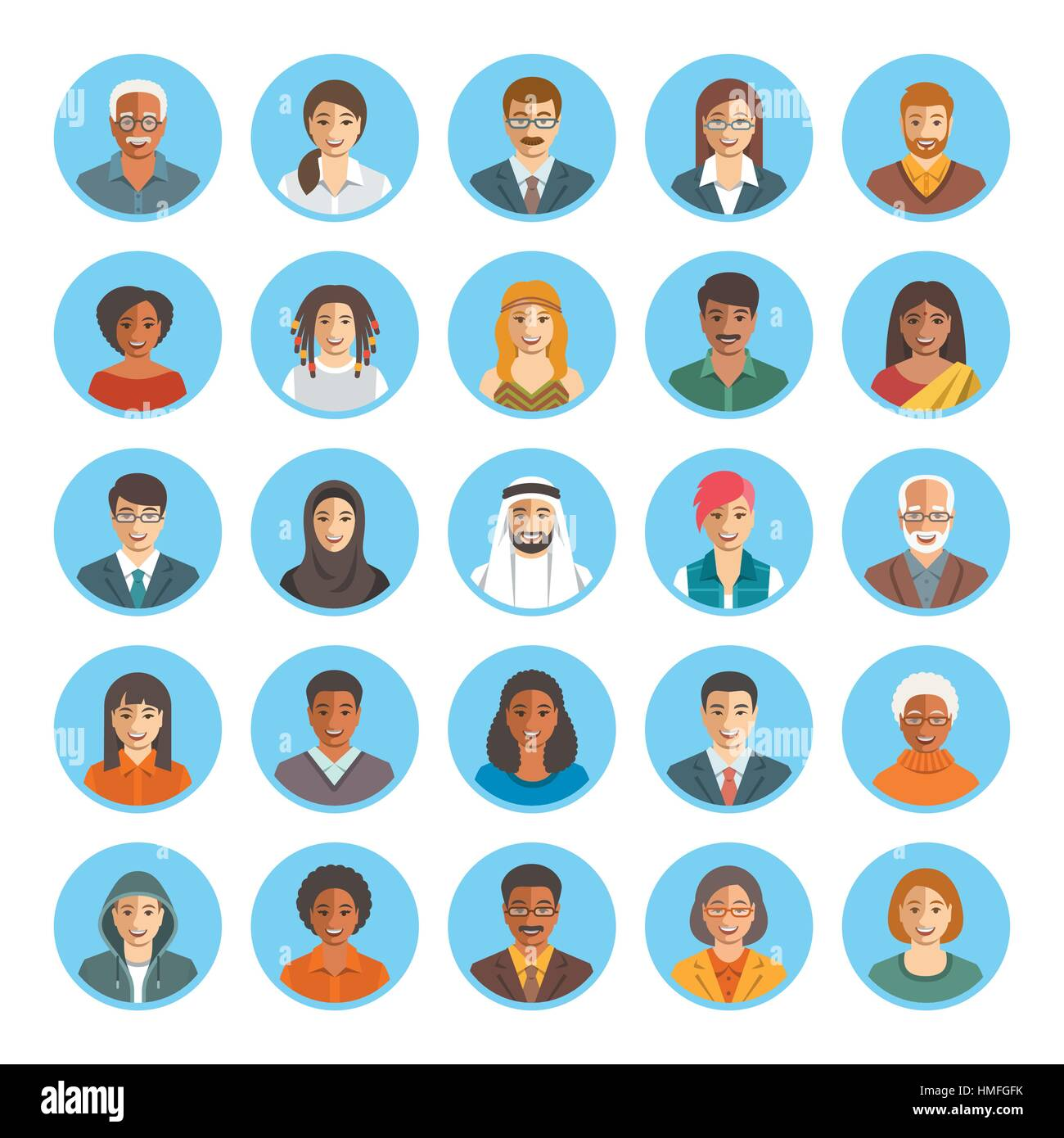 People Faces Avatars Vector Icons Flat Color Portraits Of