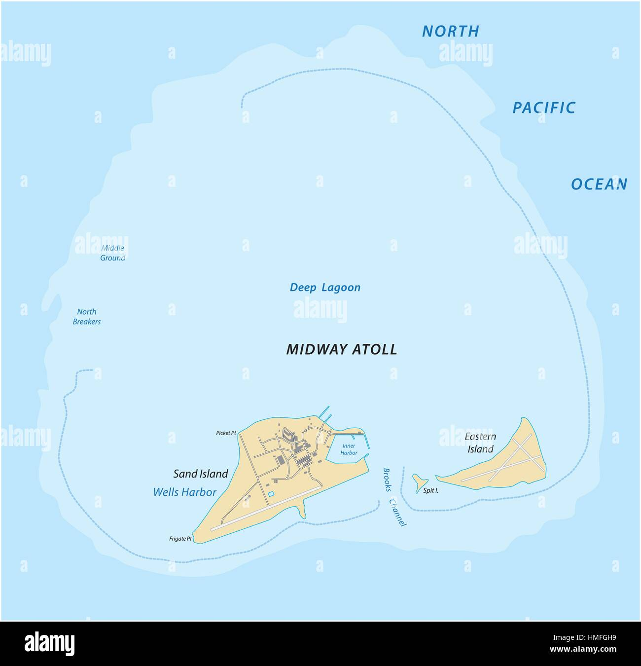 Map of the midway atoll in the northern pacific ocean stock vector map of the midway atoll in the northern pacific ocean gumiabroncs Images