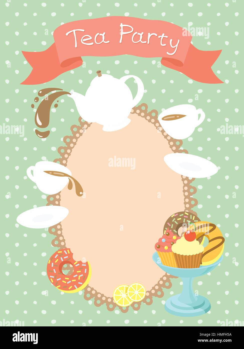 Colorful flat illustration of a tea party invitation card with a ...