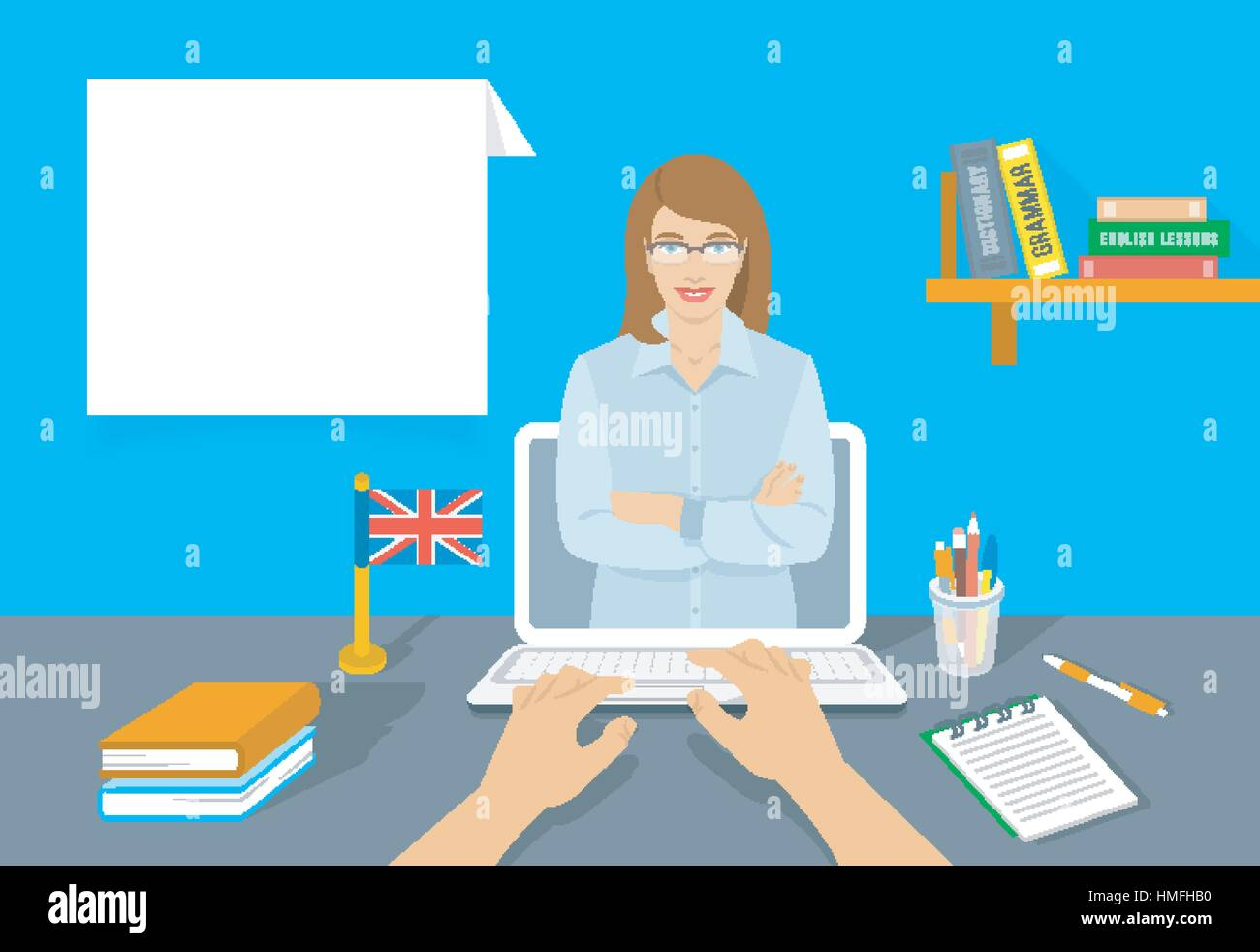 Online Internet language courses flat vector illustration. Foreign ...