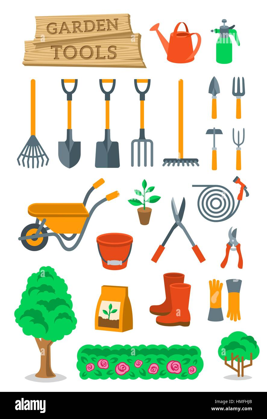Gardening and farming instruments and tools flat vector for Agriculture garden tools