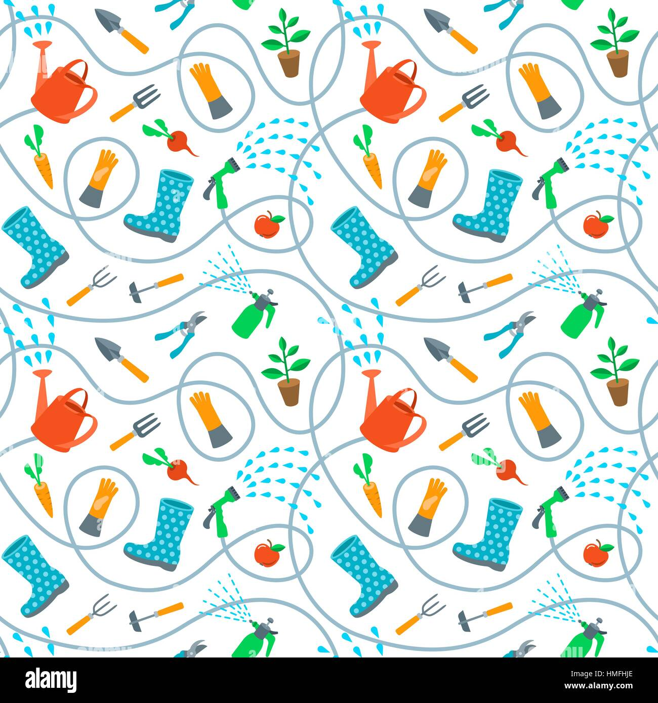Gardening Tools And Fruits Flat Seamless Pattern. Cute Cartoon Repeating  Endless Background With Scattered Colorful