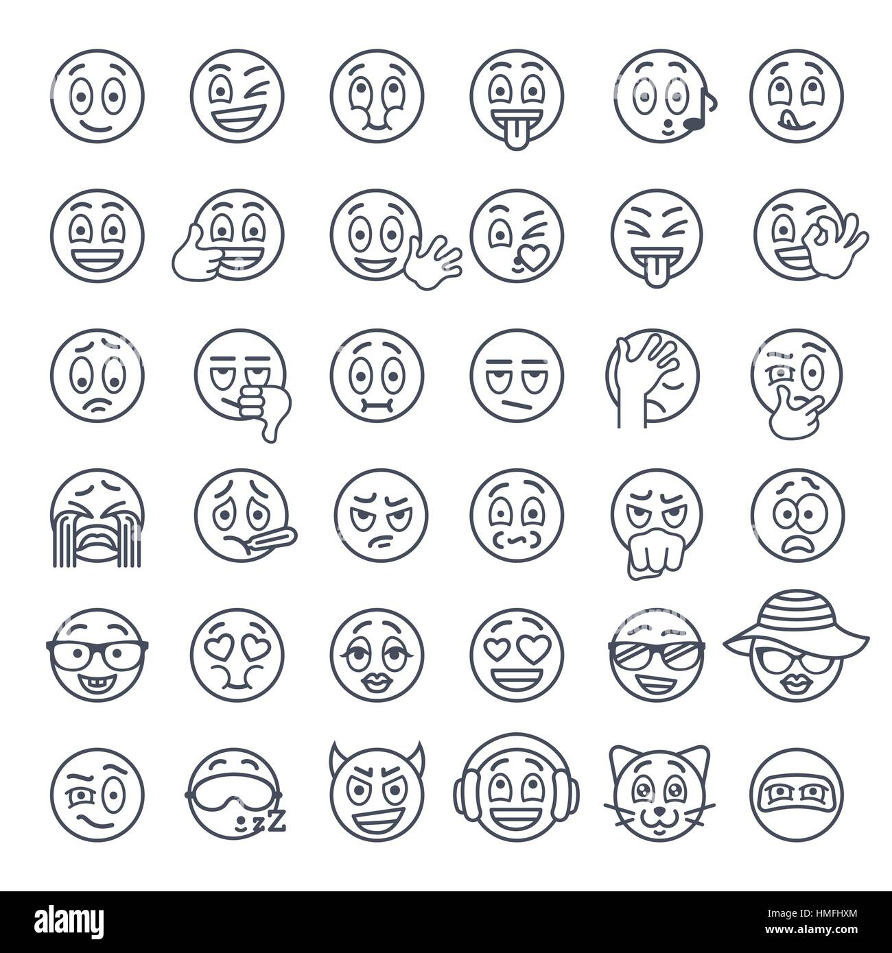 Smiley face thin lines flat vector icons set emoji emoticons smiley face thin lines flat vector icons set emoji emoticons different facial emotions and expression linear symbols cute ball cartoon character m buycottarizona Choice Image