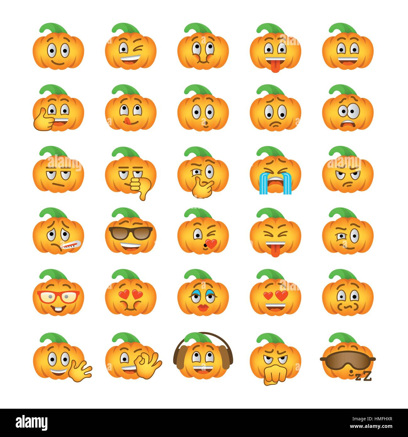 Smiley flat vector emoticons with emotions and funny facial stock halloween pumpkin emoji emoticons smiley face holiday symbol flat vector icons different facial emotions buycottarizona Choice Image