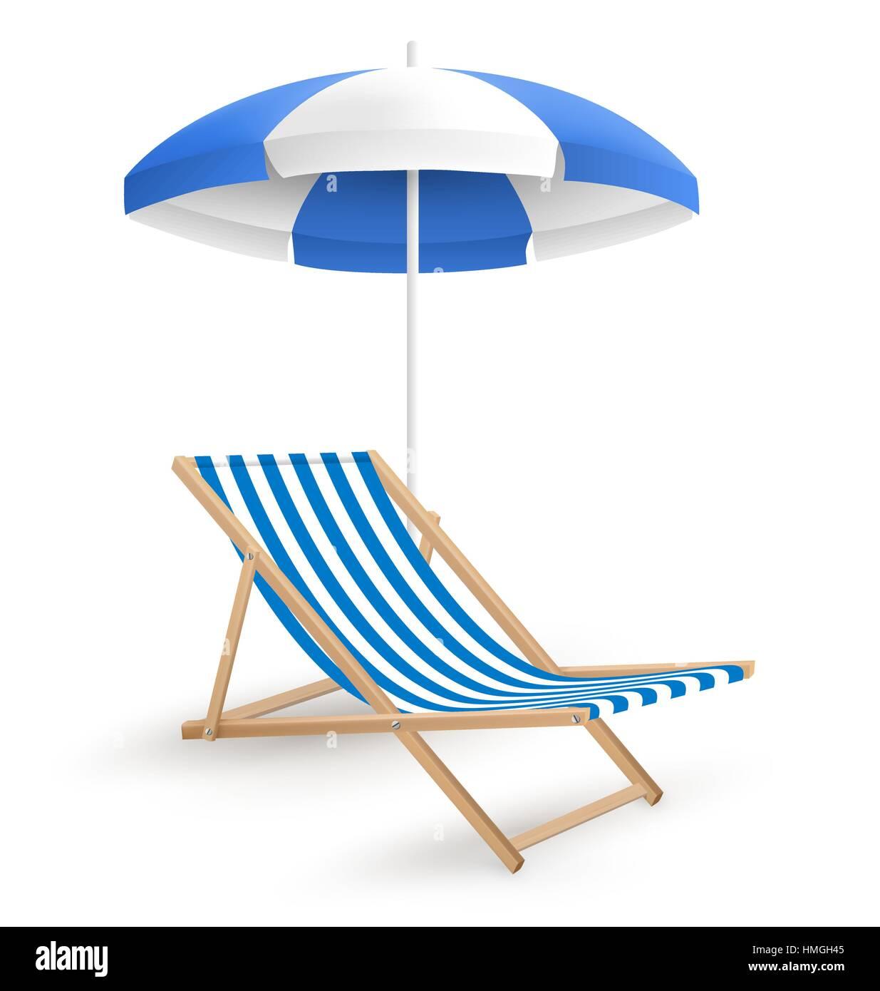 Beach chair with umbrella - Stock Vector Sun Beach Umbrella With Beach Chair Isolated On White