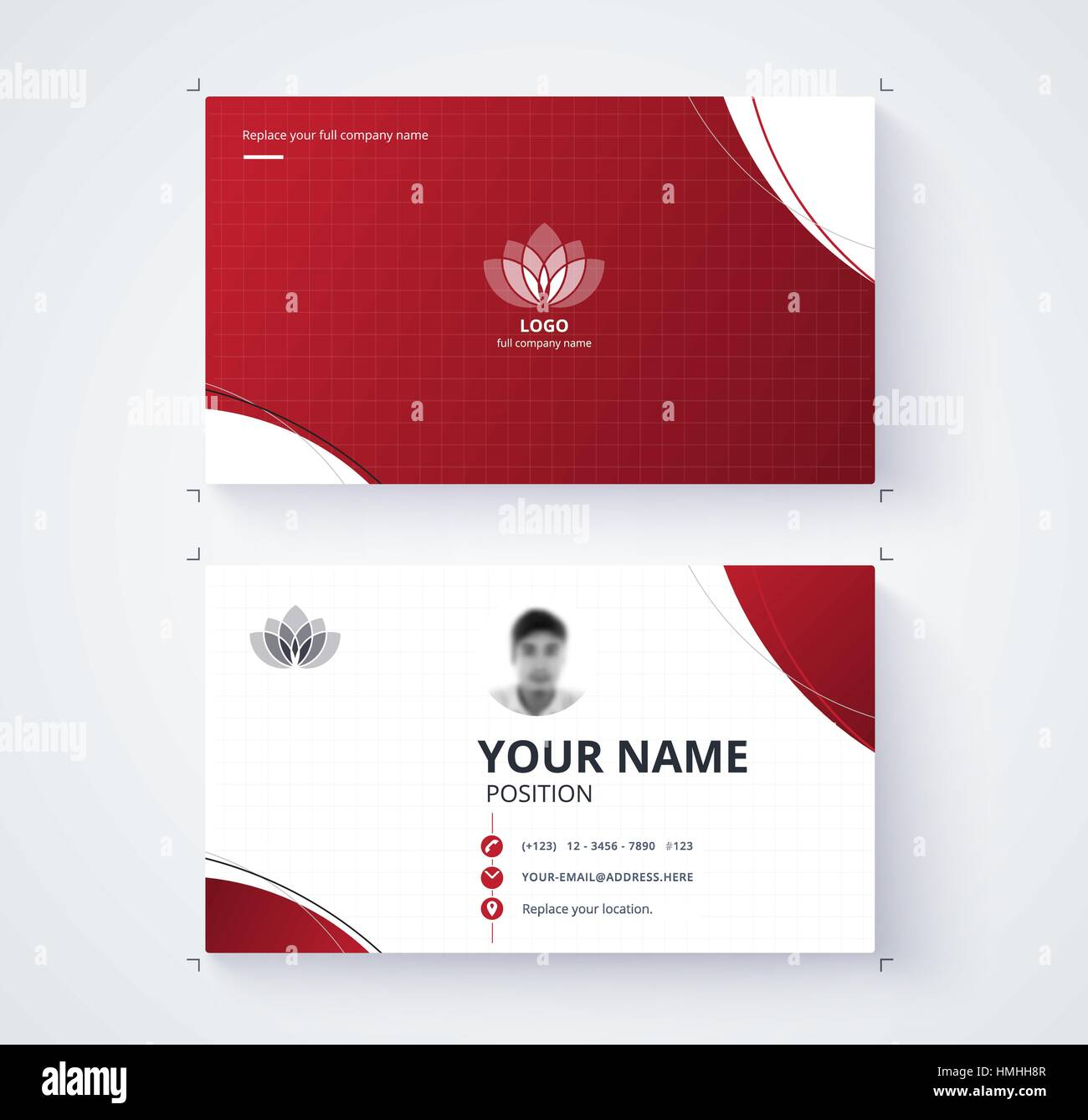 Red business card template with sample logo design vector card red business card template with sample logo design vector card reheart Images