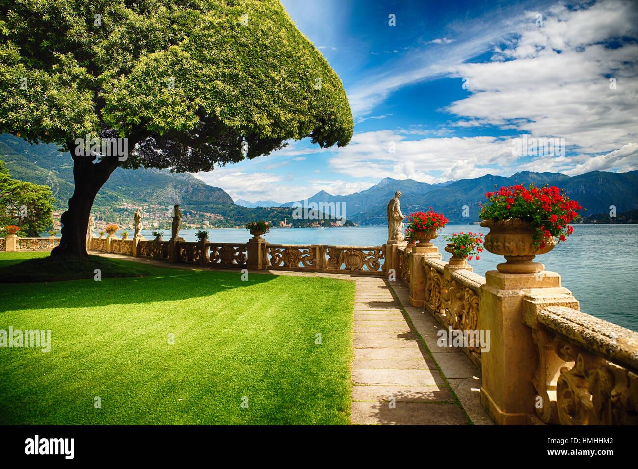 View Of Lake Como From A Garden Terrace Villa Balbianello