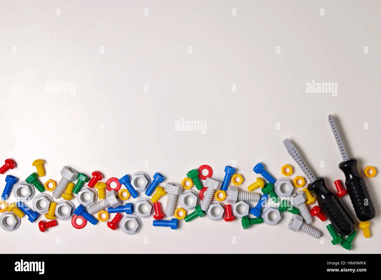 kids construction tools frame on white background colorful toys