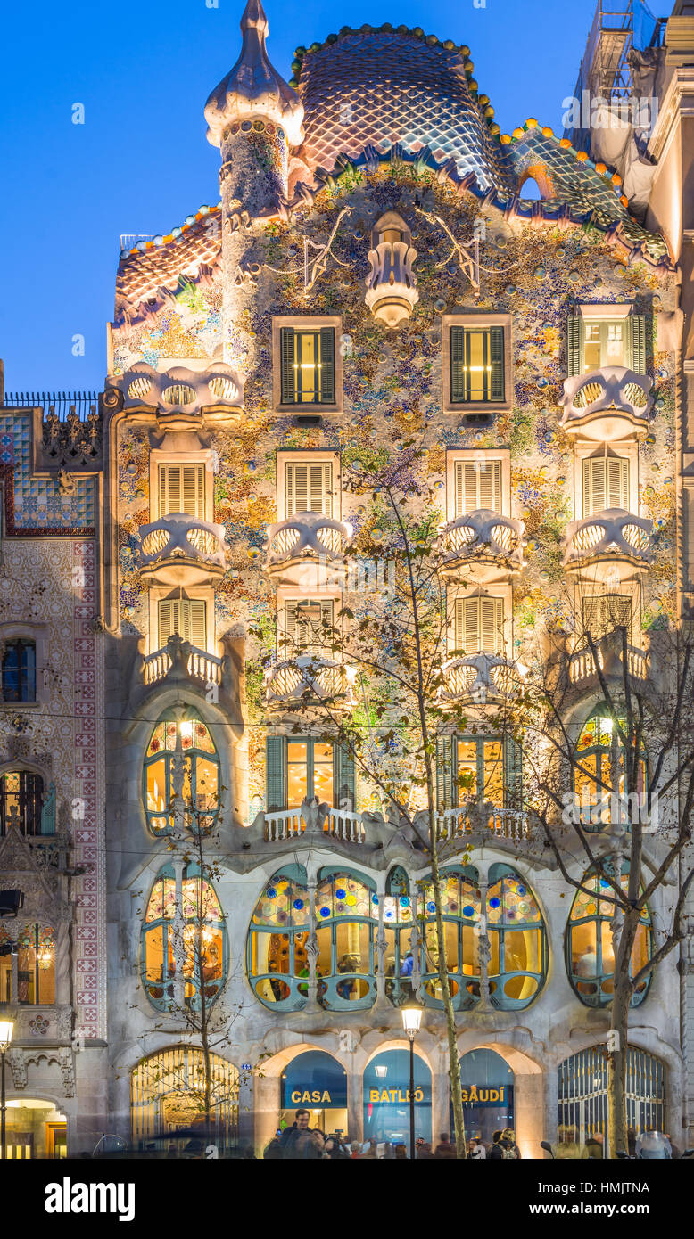 Spain, Catalonia, Barcelona, Casa Batllo, Modernist Architecture By Antoni  Gaudi