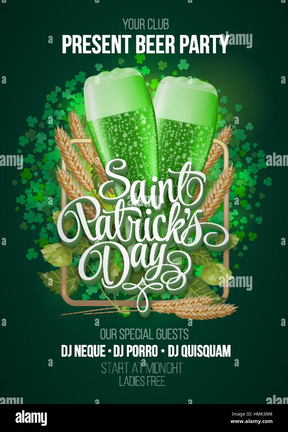 st  patrick s day poster  beer party green background with