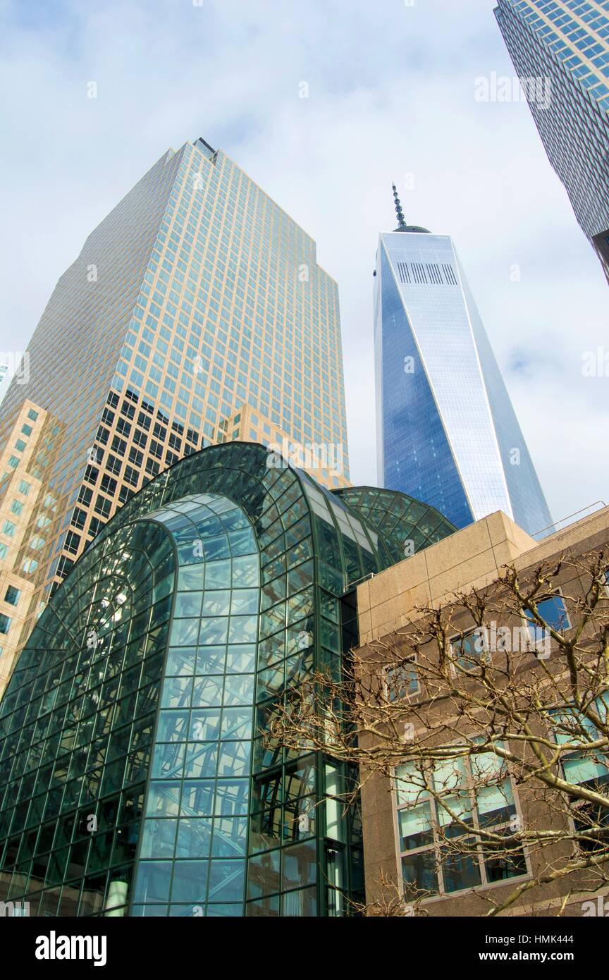 brookfield place and one world trade center new york stock photo