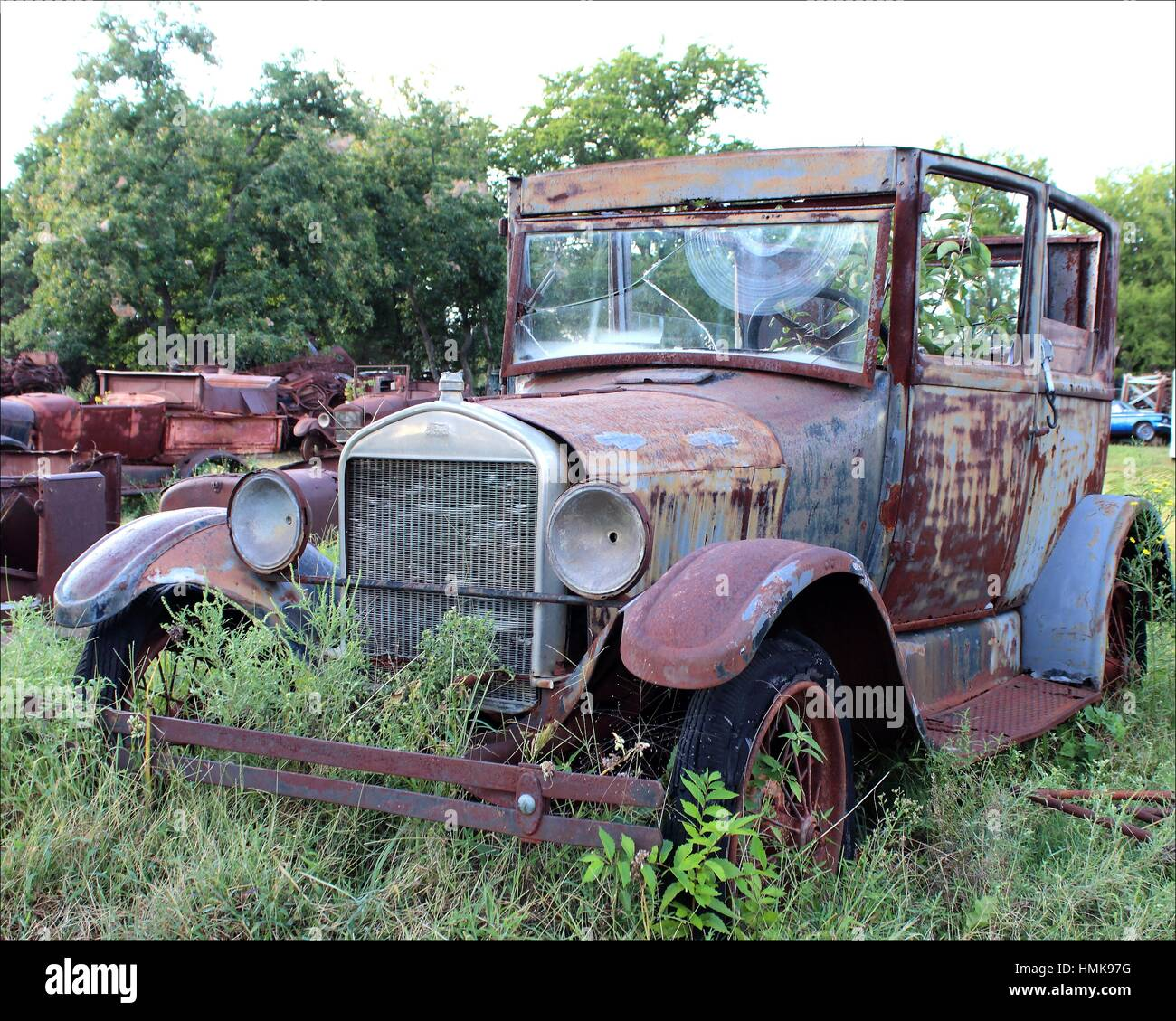 Weathered and broken old cars and trucks rusting away in Oklahoma ...