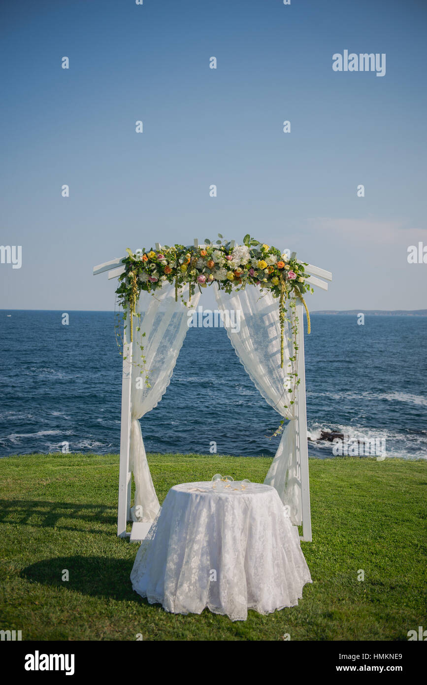 beach wedding chairs. Wedding Ceremony Flowers, Arch, Chairs With Black Sea In The Background. Beach I