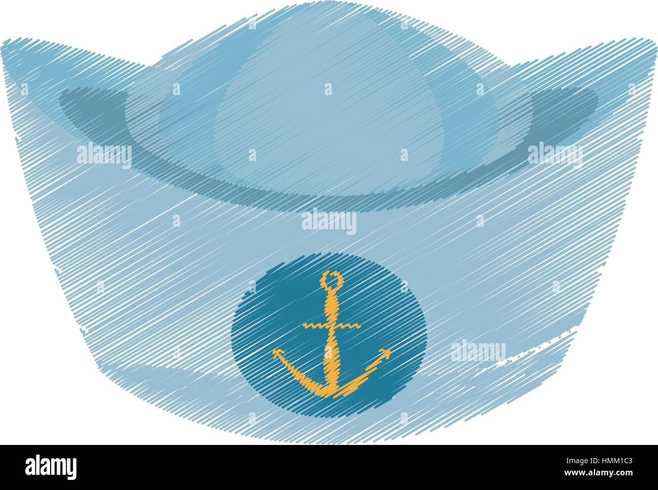 Sailor stock photos illustrations and vector art - Drawing Sailor Cap Nautical Anchor Design Vector Illustration Eps 10 Stock Vector