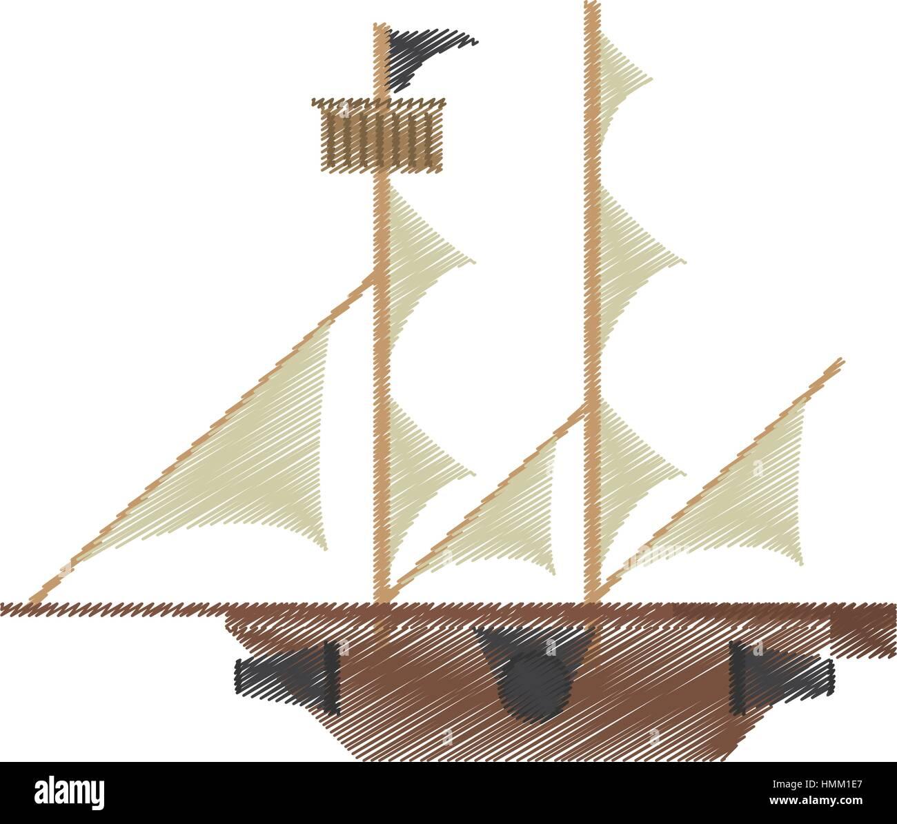 drawing pirate ship sail adventure vector illustration eps 10