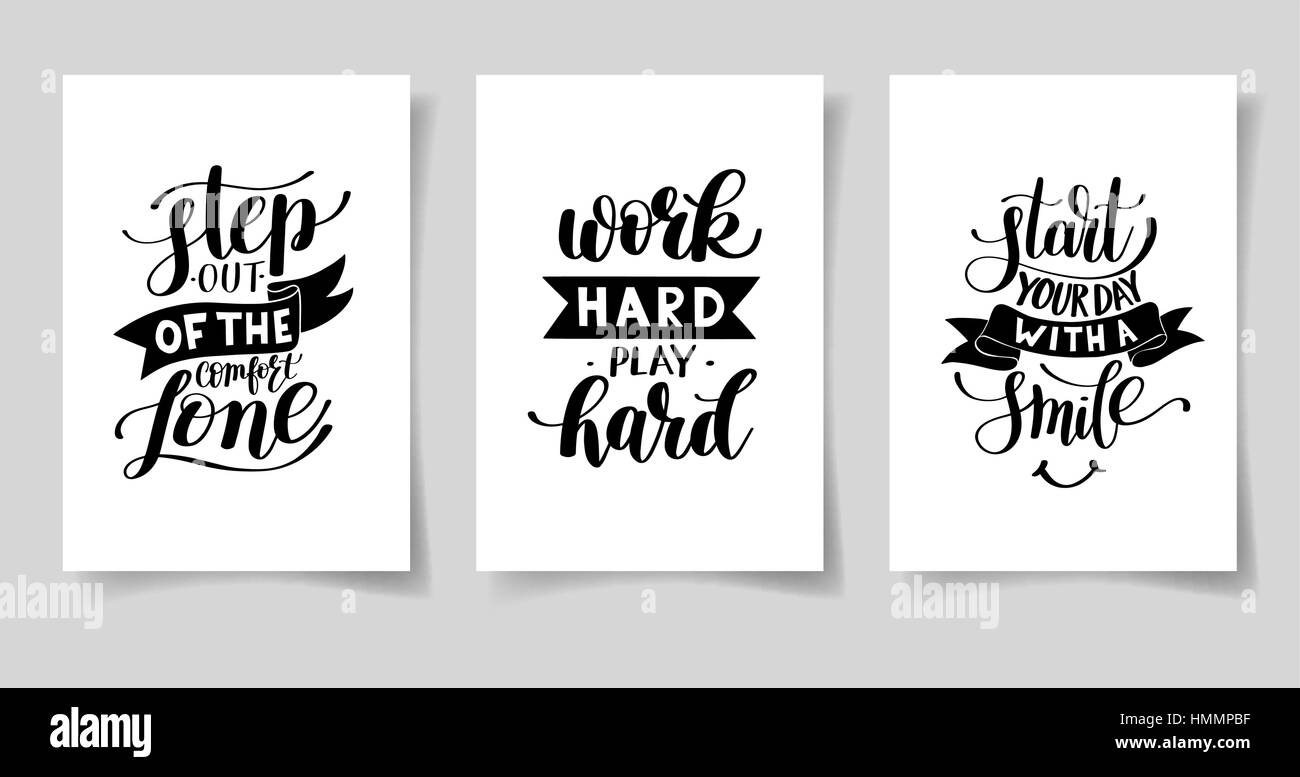Life Quote Posters Set Of Three Hand Written Lettering Positive Inspirational Quote