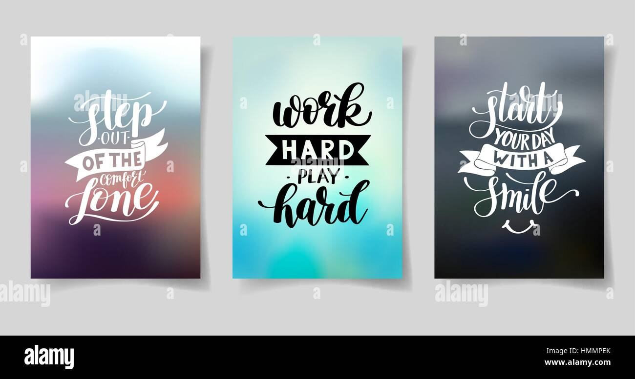 Life Quotes Posters Set Of Three Hand Written Lettering Positive Inspirational Quote