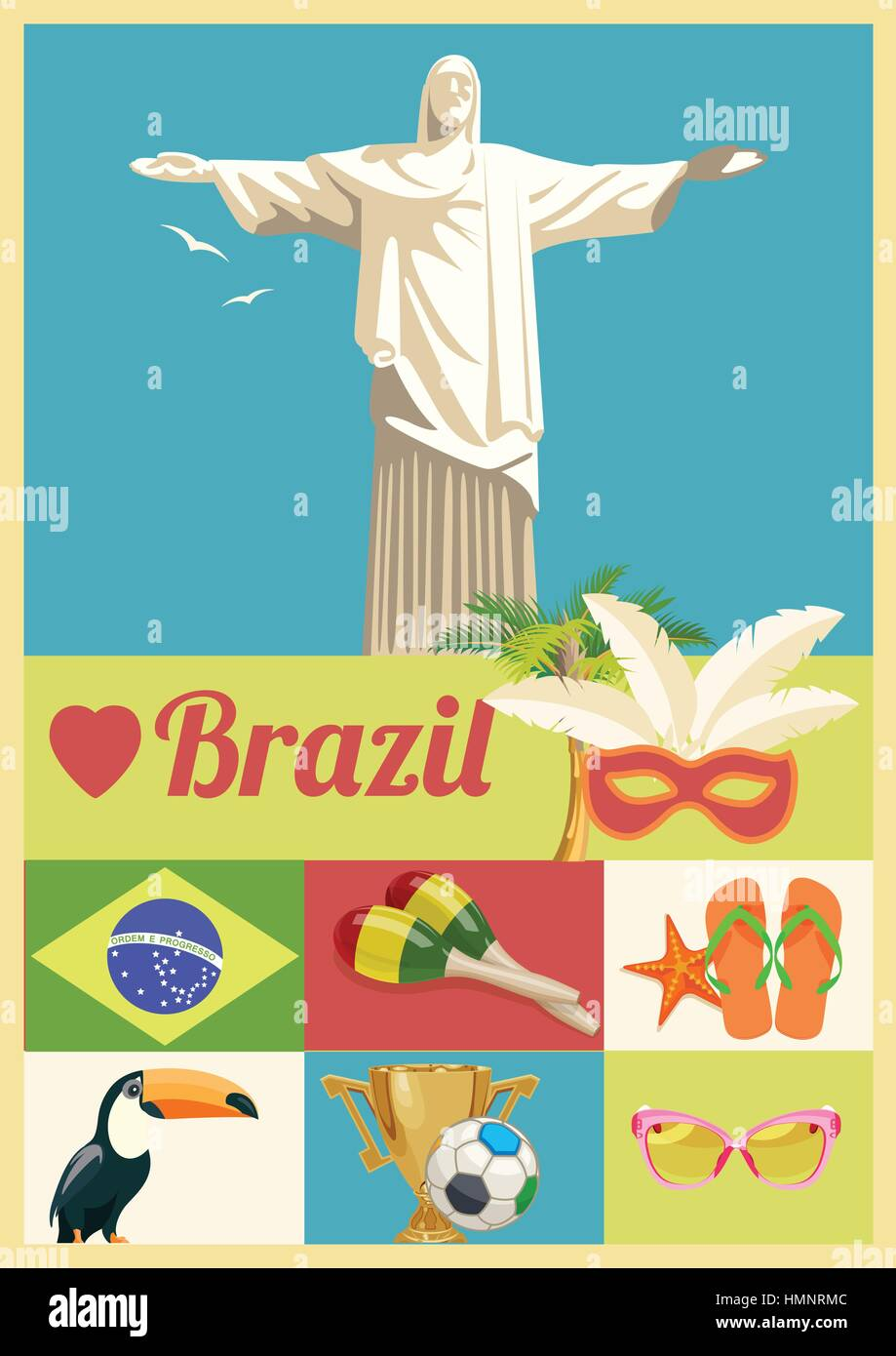 Poster design landscape - Stock Vector Vector Travel Poster Of Brazil With Colorful Modern Design Brazilian Landscape And Monuments Rio De Janeiro Advertising Card With Statue Of