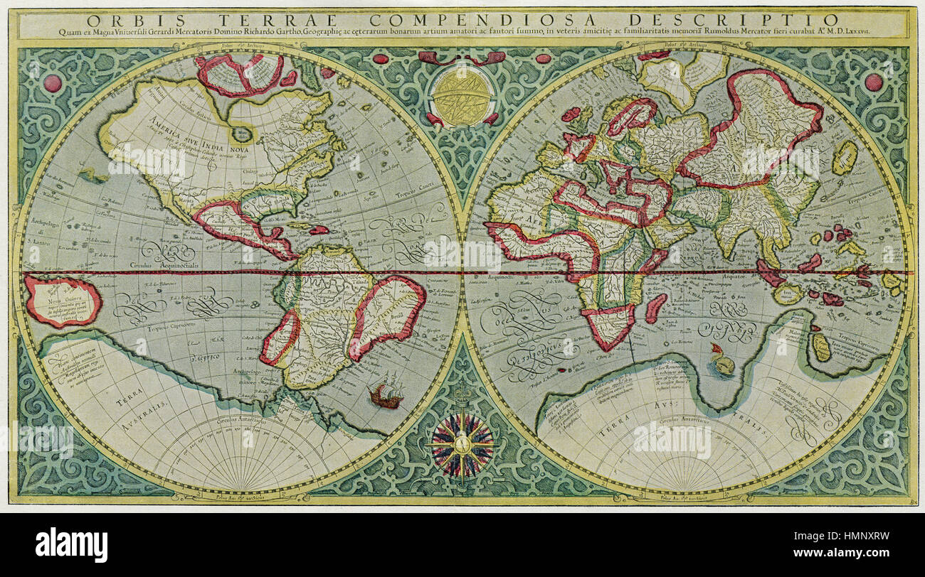 Gerhard mercator world 1587 facsimile antique map stock photo gerhard mercator world 1587 facsimile antique map sciox Choice Image