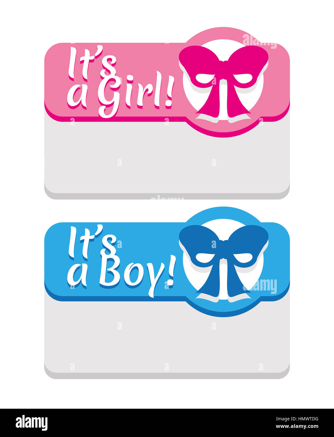 Newborn announcement its a boy girl card featuring a stylized newborn announcement its a boy girl card featuring a stylized blue fuchsia ribbon for baby shower invitations greeting cards or present tags kristyandbryce Images