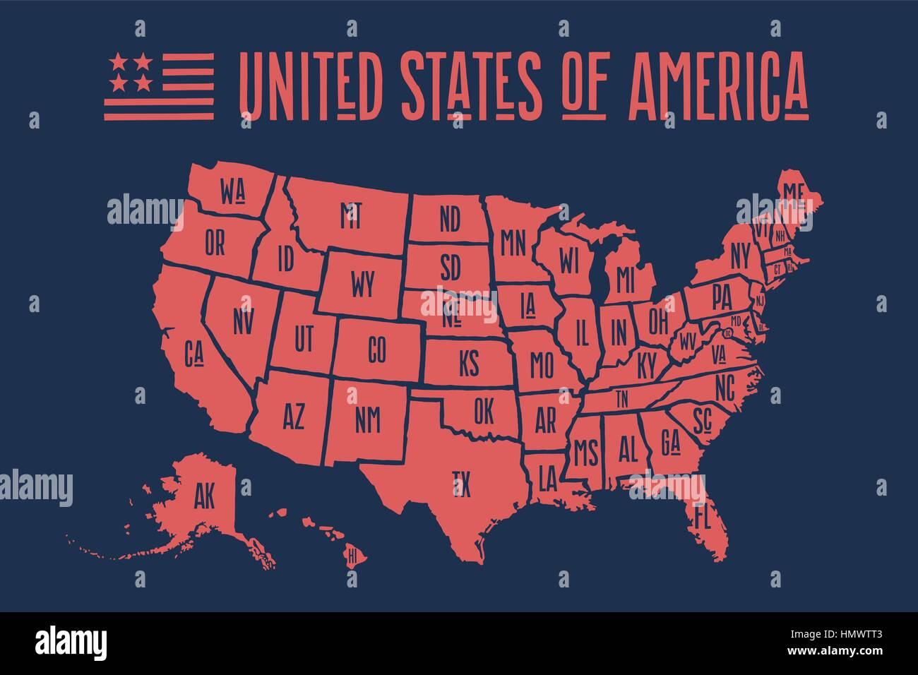 Poster Map United States Of America With State Names Stock Vector - Map of the united states with names
