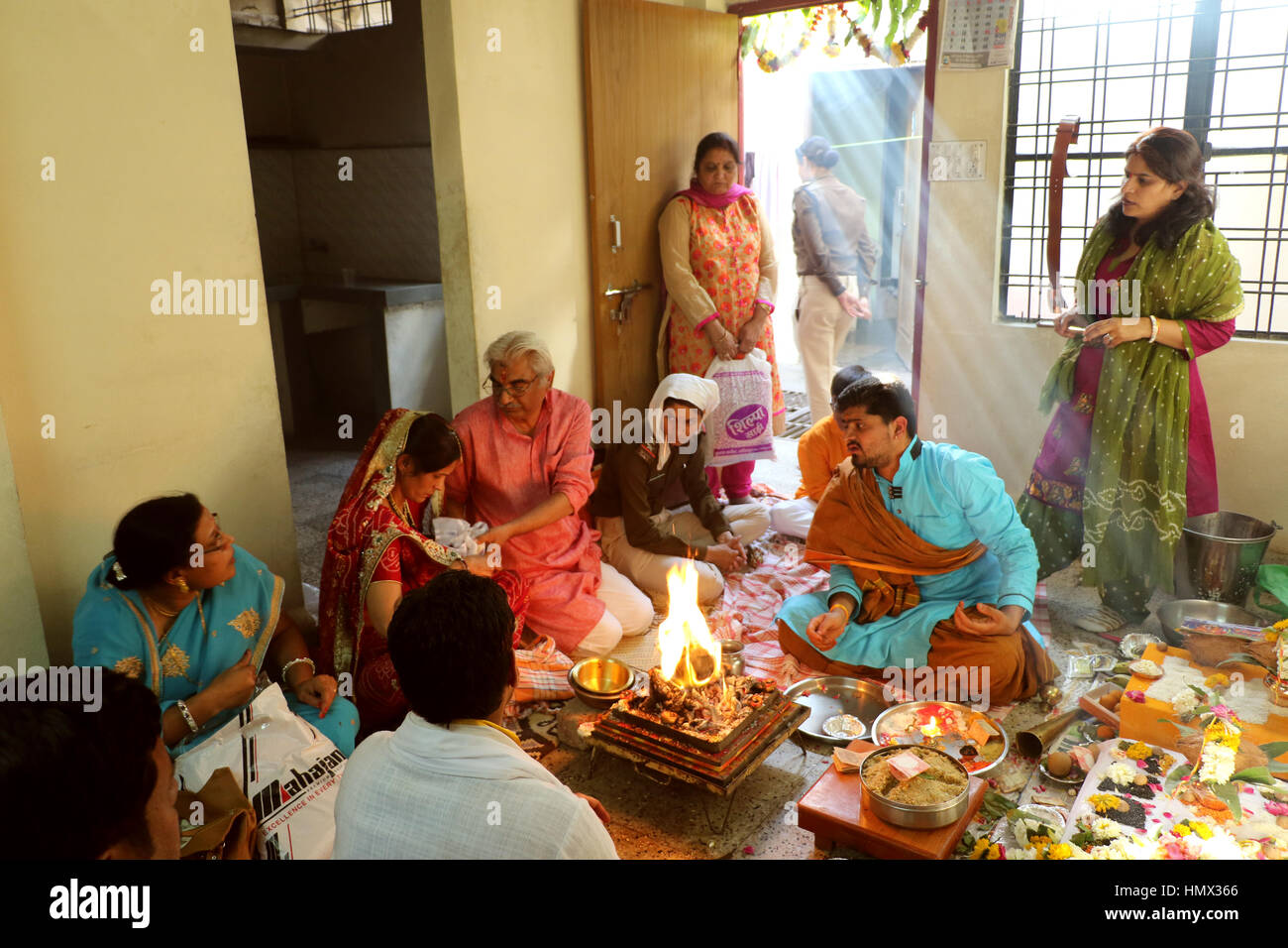 Hindu people offering special spiritual prayer to god ...