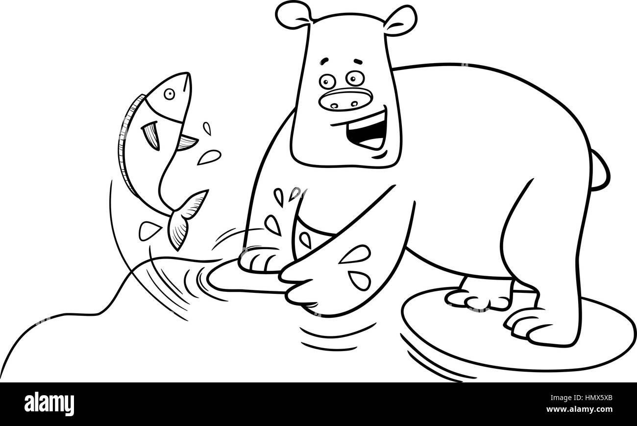 black and white cartoon illustration of bear catching fish in the