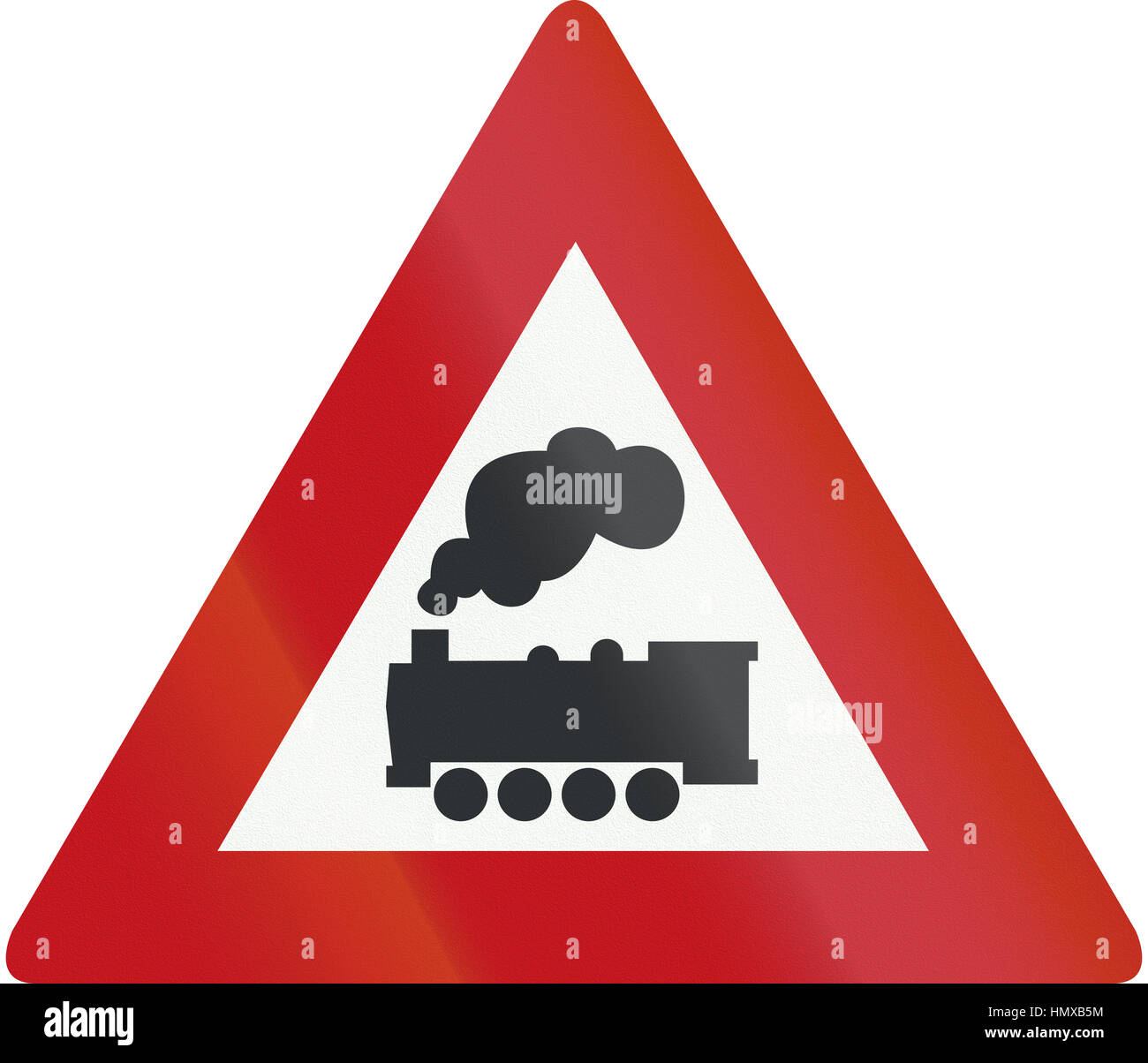 Netherlands road sign j11 level crossing without barrier or gates ahead stock image