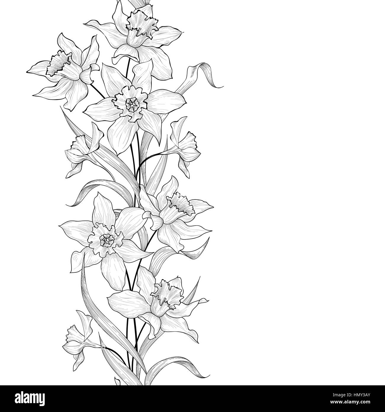 Drawing Vertical Lines In Html : Floral garland seamless pattern flower engraving