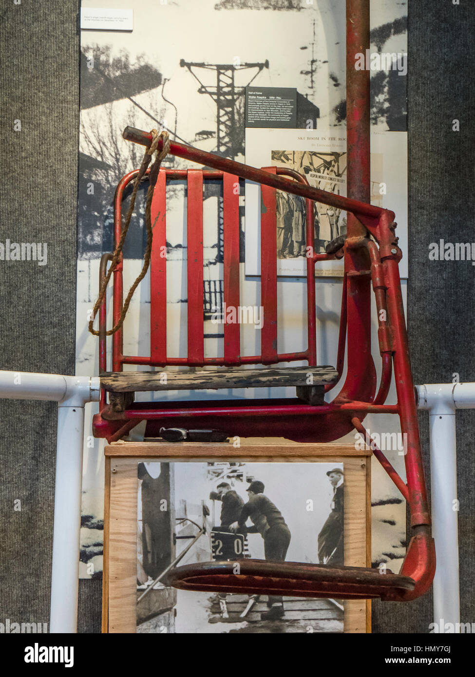 Single-seat chairlift seat, Colorado Ski Museum, Vail Village ...