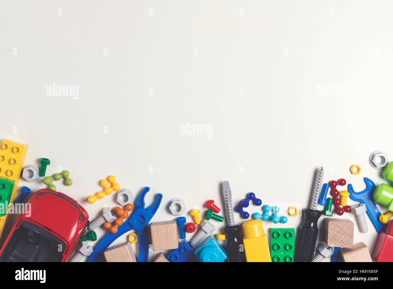 Boy Toys Background : Colorful kids toys frame plastic toy tools bolts nuts