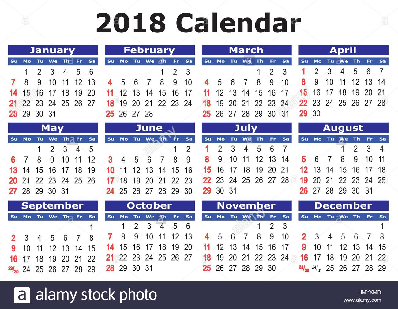 2018 Calendar Year : Calendar simple vector for year stock