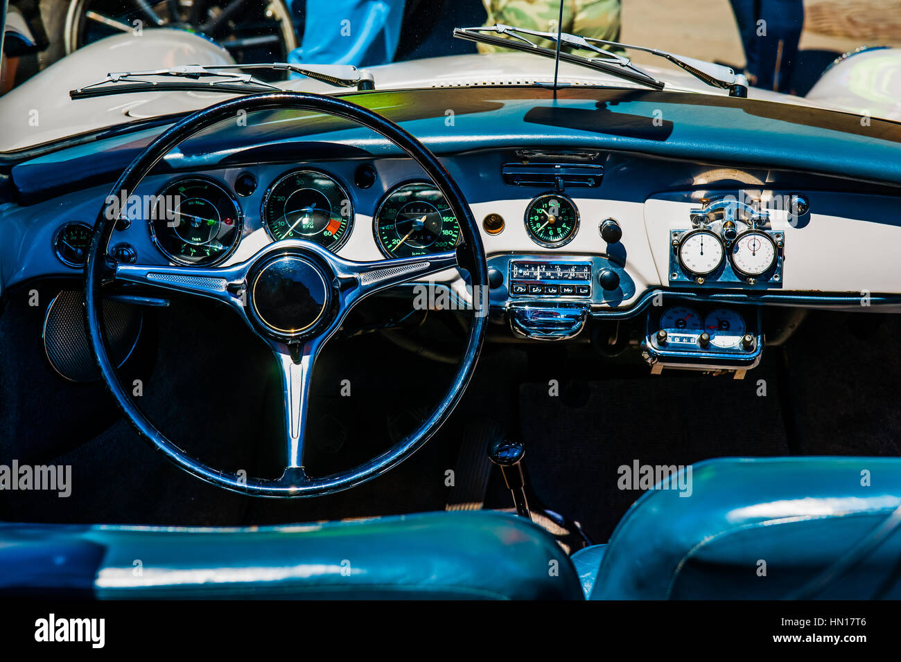 Color and beauty of vintage cars. Black steering wheel and a Stock ...