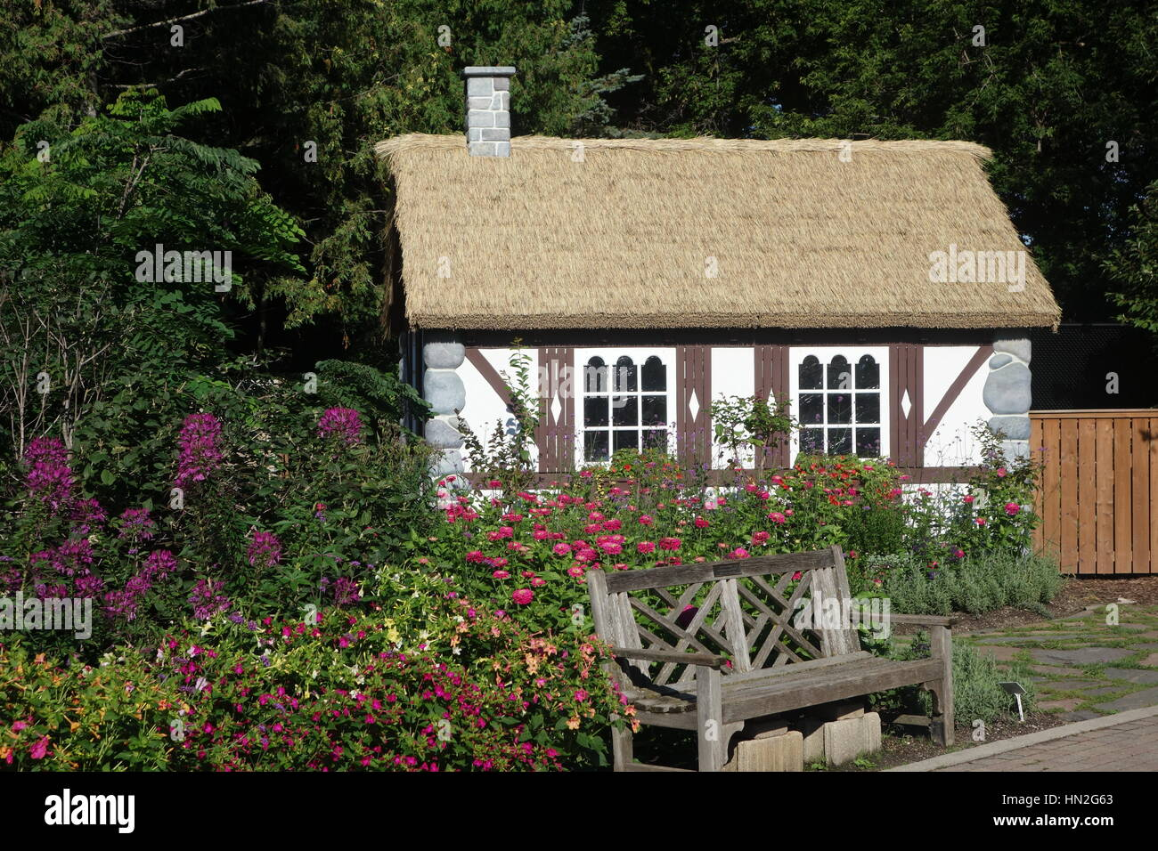 Tudor Style English Cottage With Thatch Roof In Garden