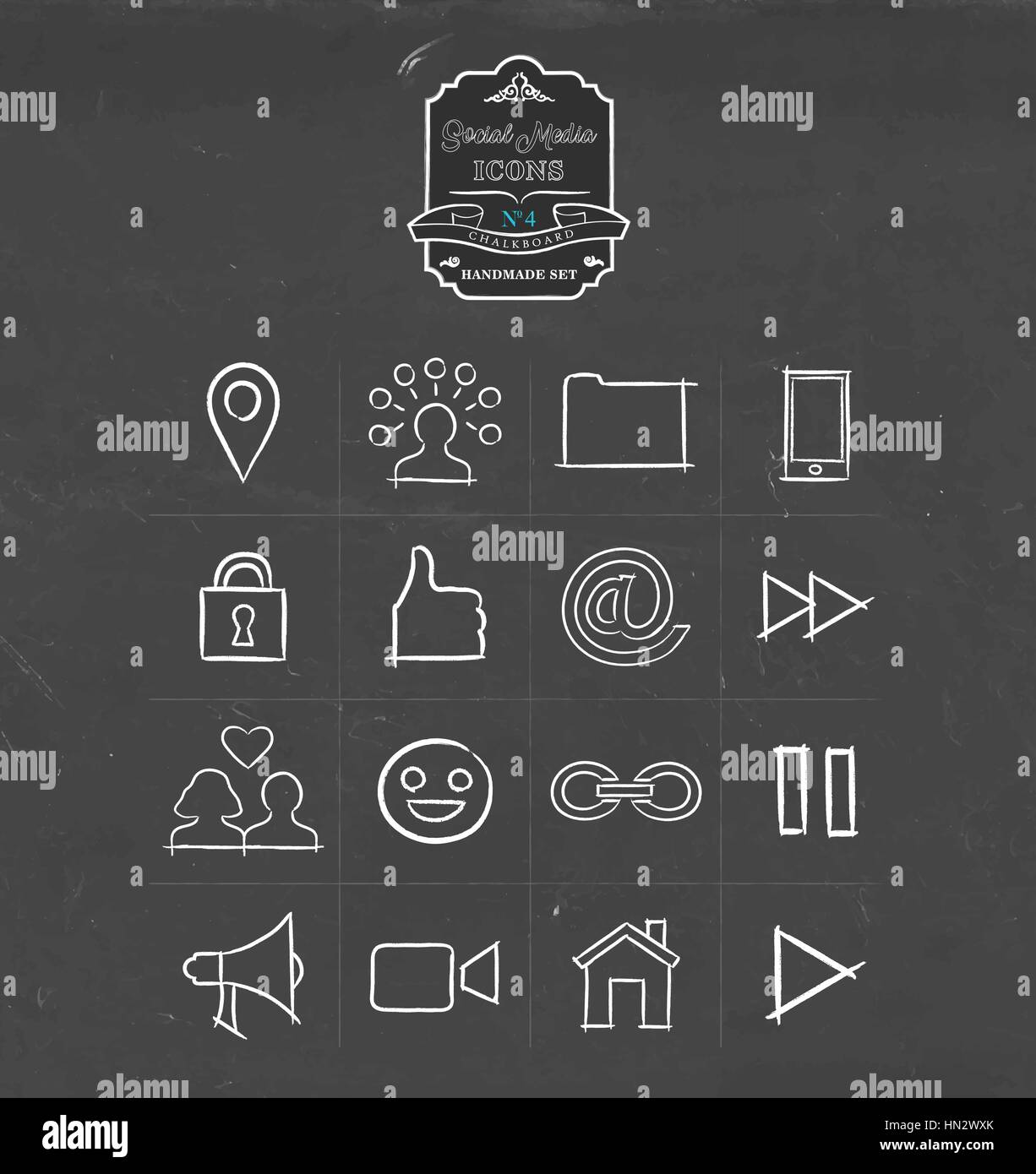 Social media hand drawn chalkboard icon collection, set of ...