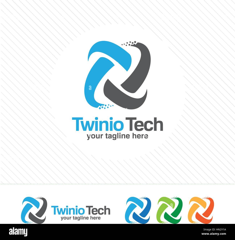 Abstract Digital Letter T Logo Design Vector. Pixel