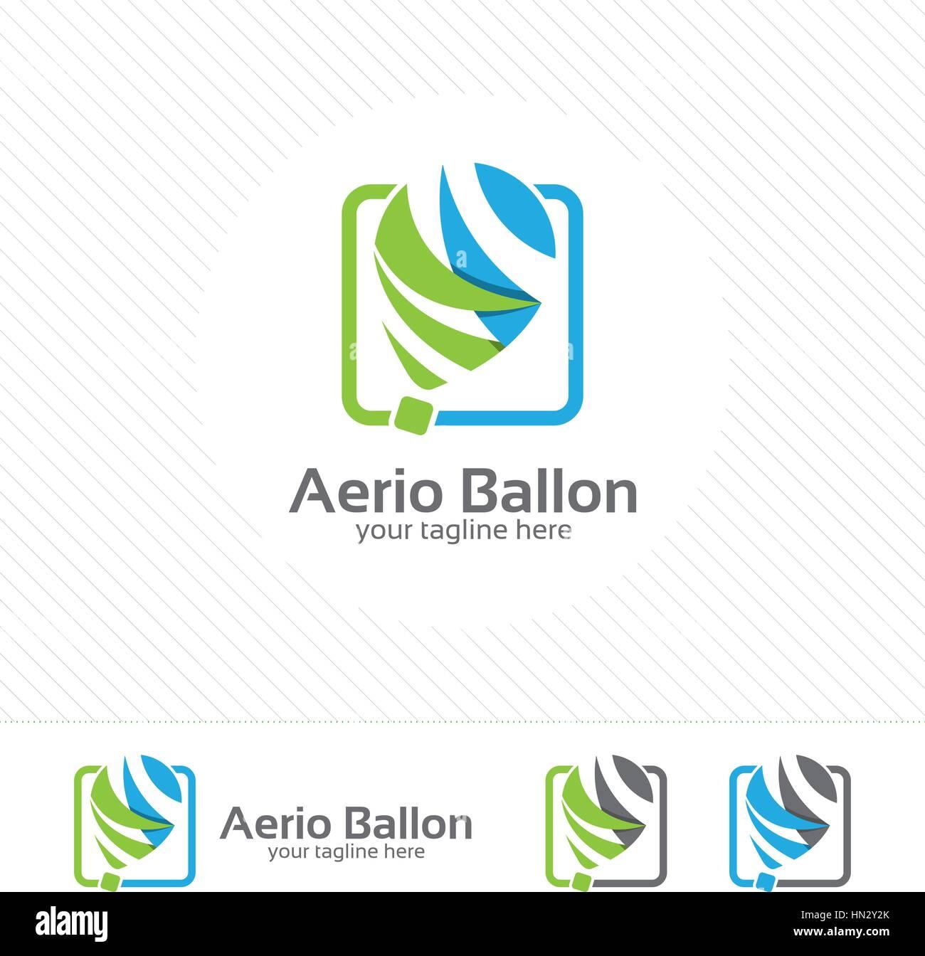 Air Balloon Logo Vector With Simple Modern Design Concept