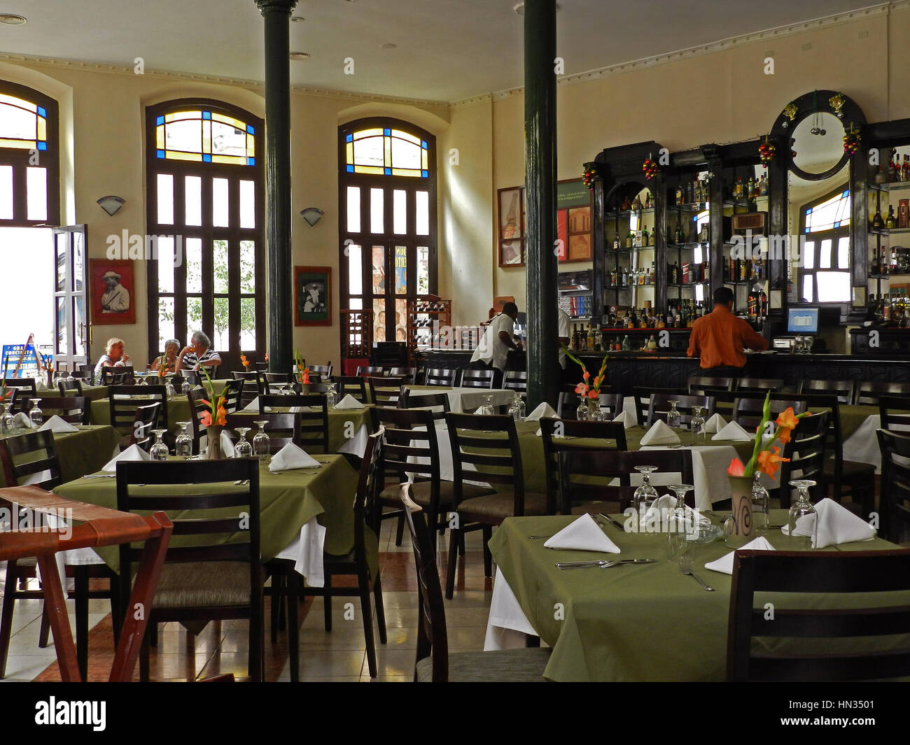 Dining Room And Bar Of The Cafe Factoria Plaza Vieja Old Havana Cuba