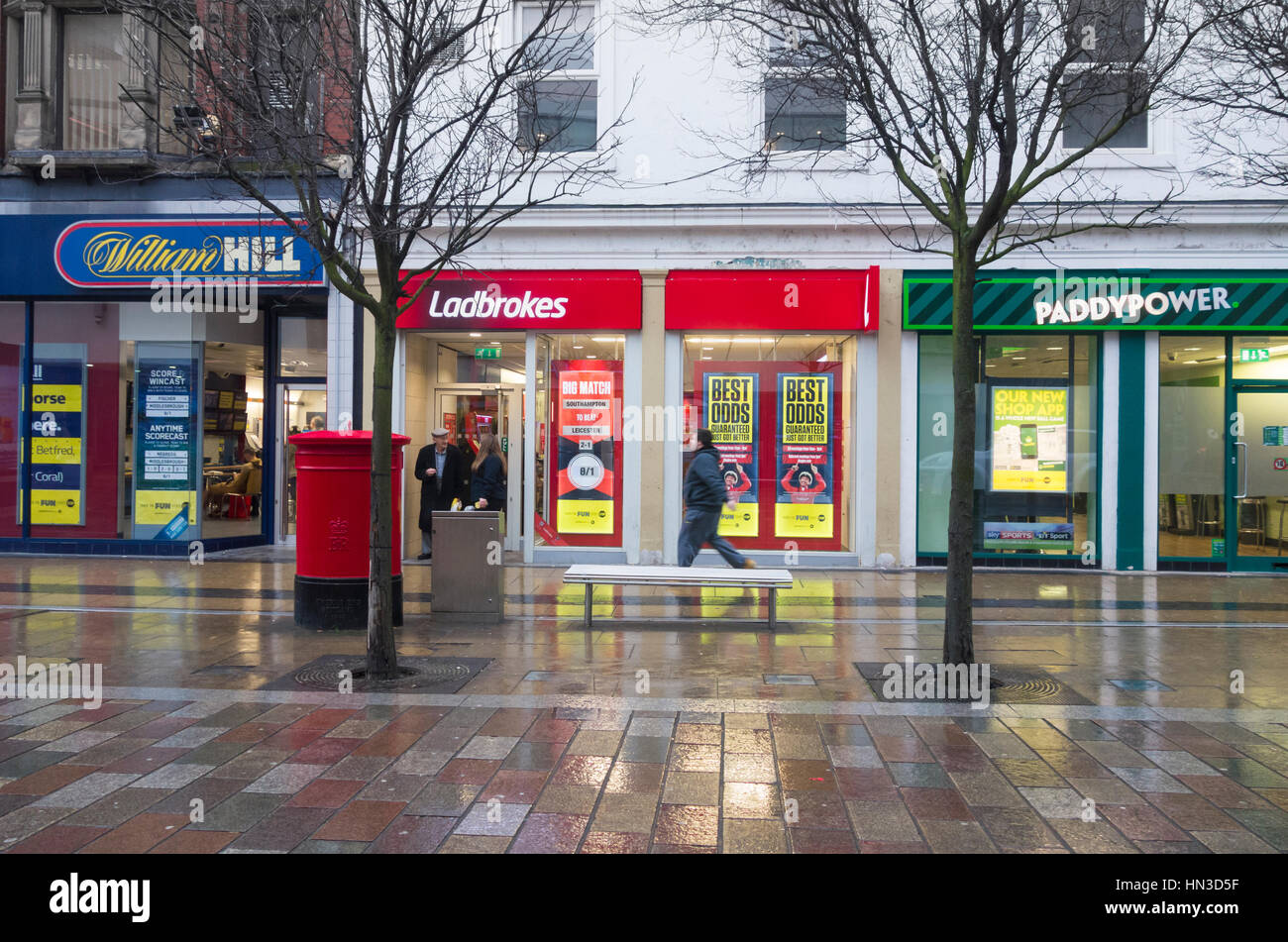 William hil ladbrokes and paddy power betting shops in middlesbrough town centre england