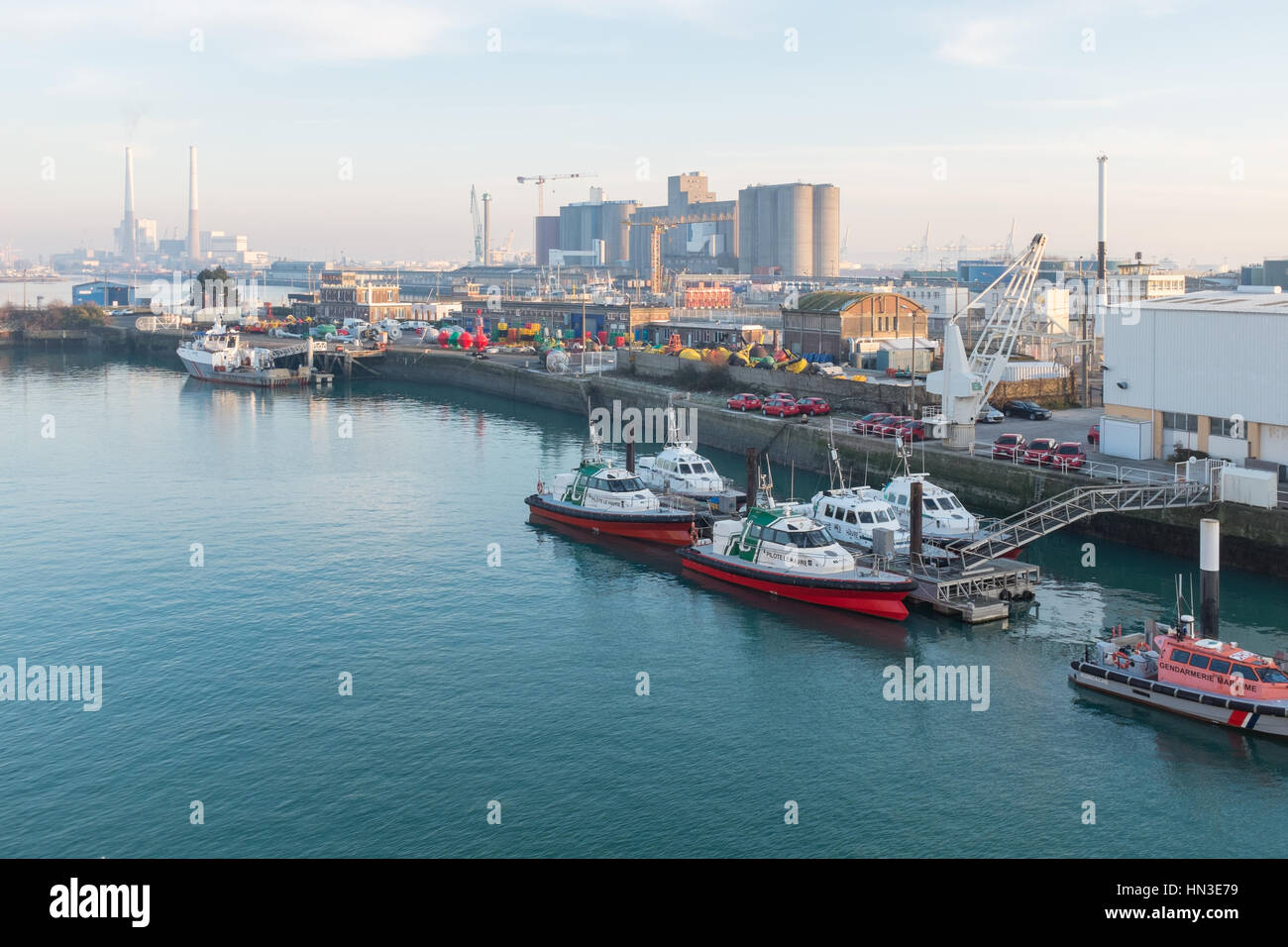 the port of le havre viewed from the deck of a departing brittany stock photo royalty free. Black Bedroom Furniture Sets. Home Design Ideas