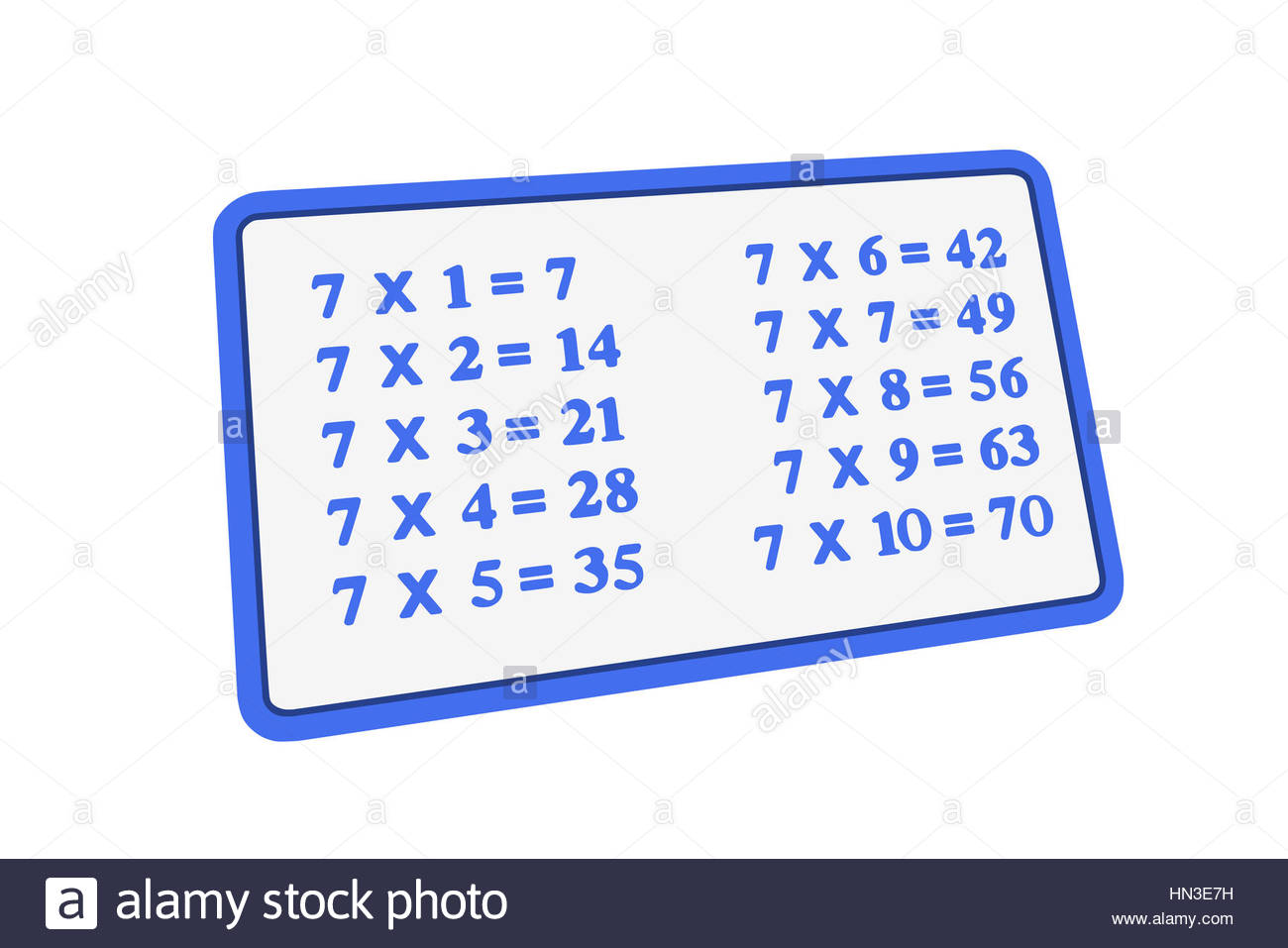 seven times table multiplication operation illustration