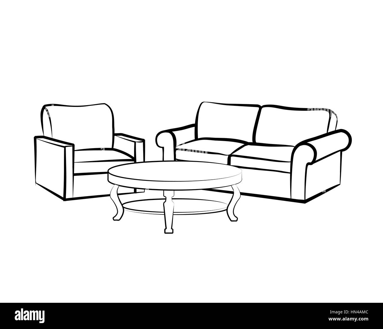 Interior Furniture With Sofa, Armchair, Table, Floor Lamp