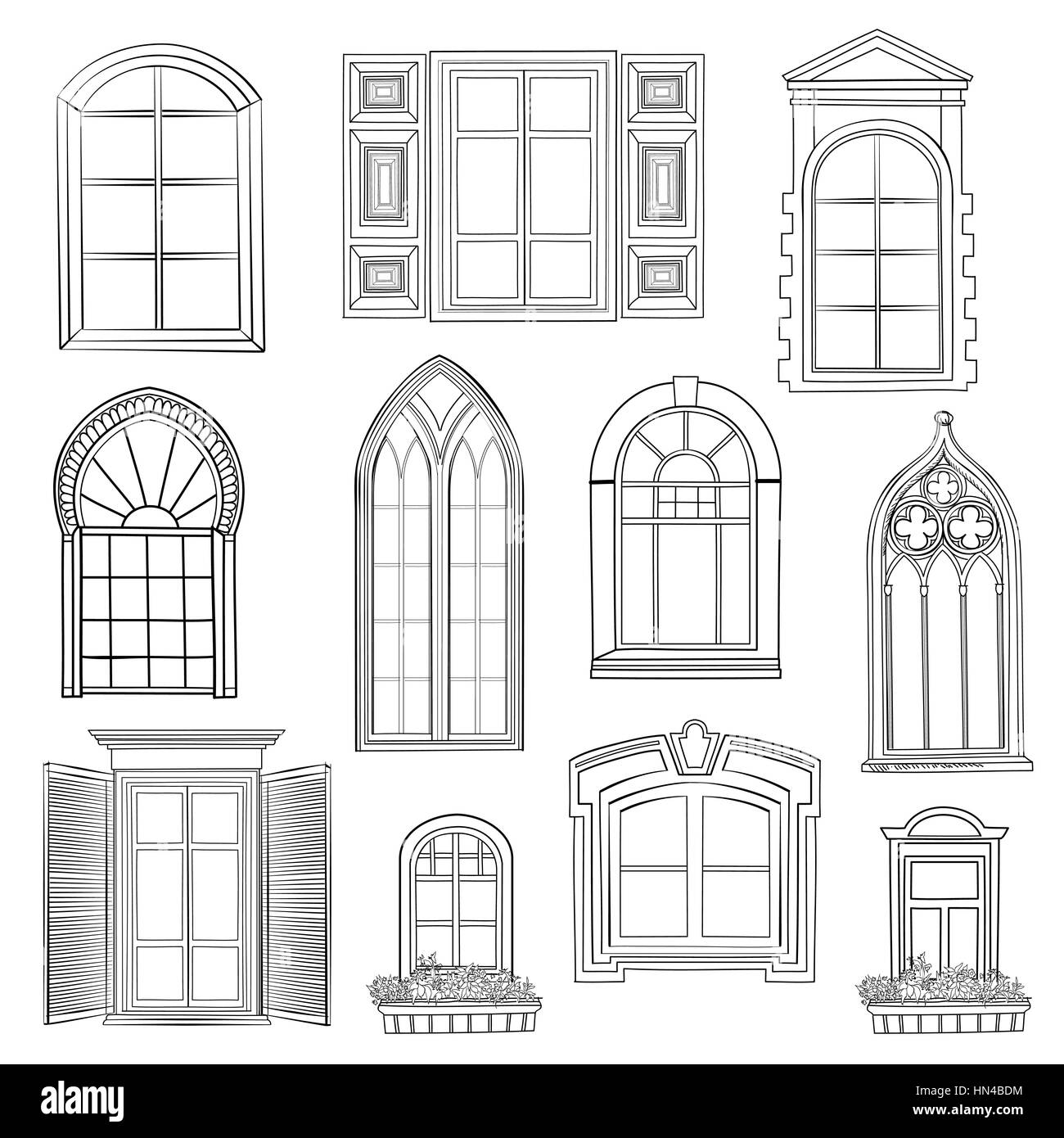 Window set different architectural style of windows for Window design sketch