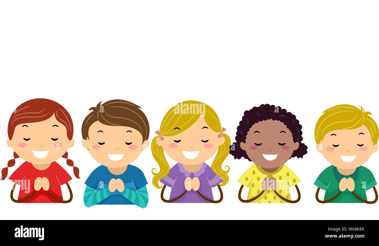 Stickman Illustration of Kids Praying Stock Photo ...