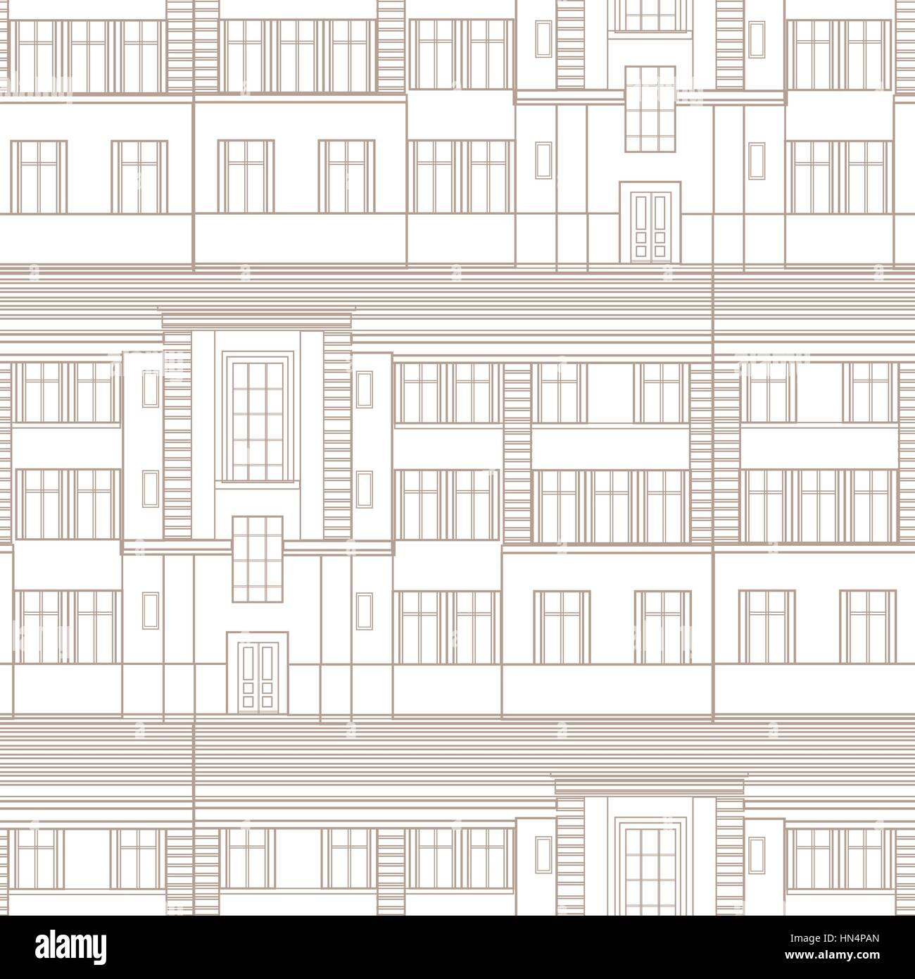 Building Facade Seamless Pattern City Architectural Blueprint Line Background Design Element
