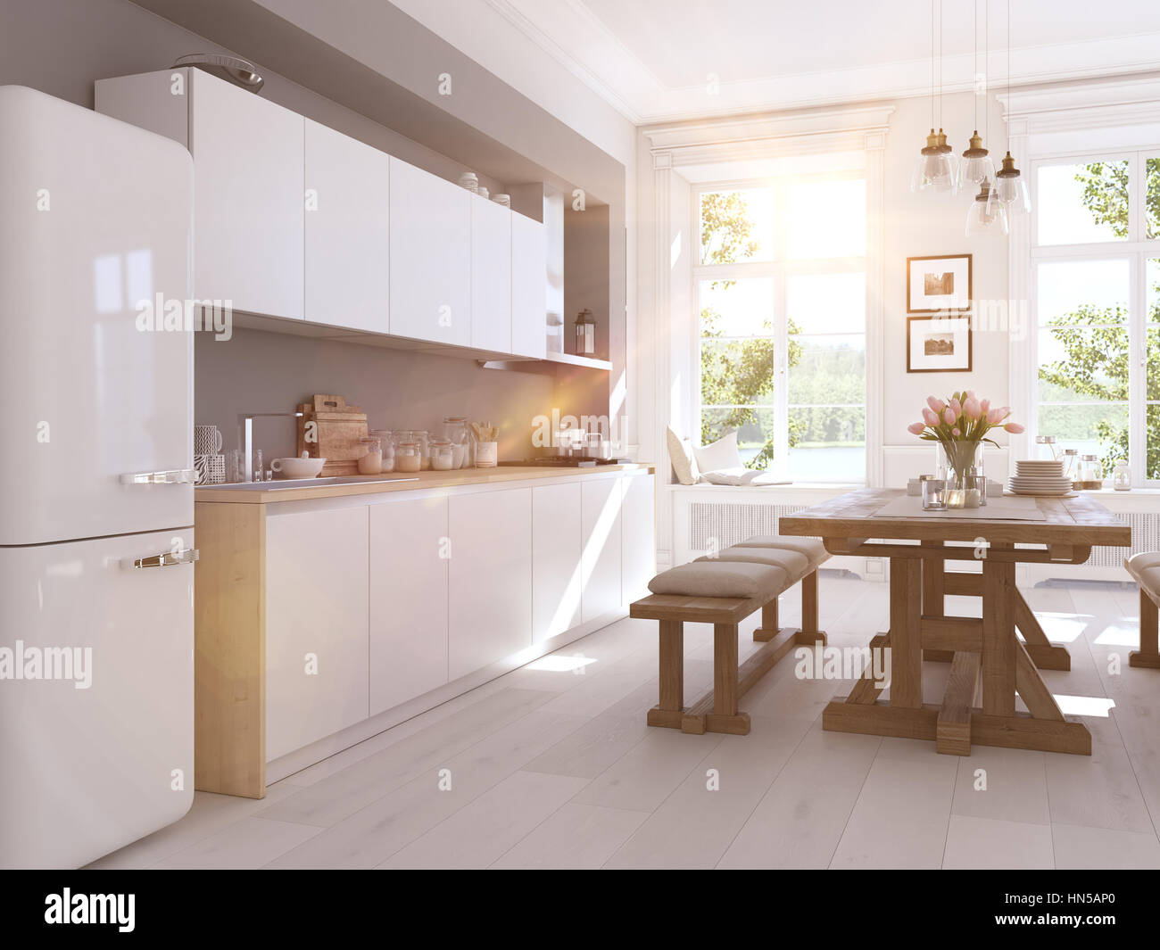 modern nordic kitchen in loft apartment. 3D rendering Stock Photo ...