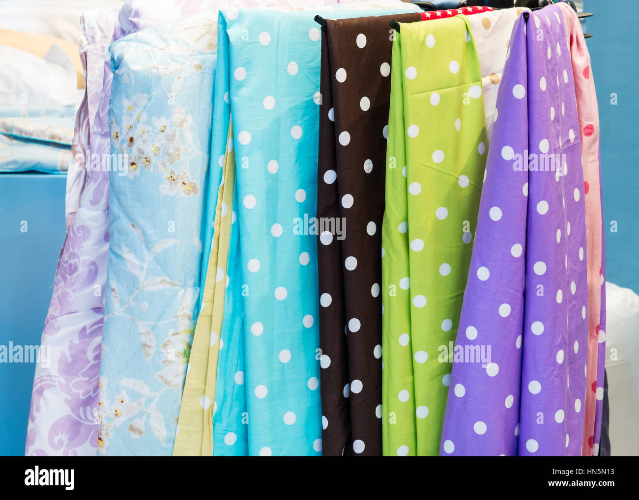 Bed sheet hanging - Bed Sheet Set Is Hanging In The Bedding Shop